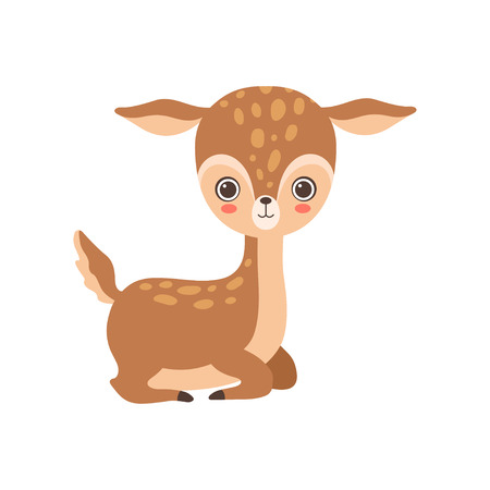 Adorable Baby Deer Forest Fawn Animal Vector Illustration on White Background.