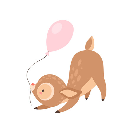 Cute Baby Deer with Pink Balloon, Adorable Forest Fawn Animal Vector Illustration on White Background. Illustration