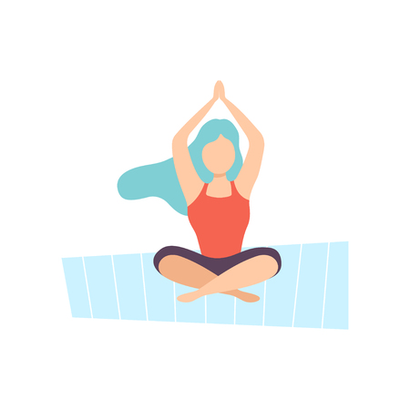 Girl Meditating in Lotus Position, Young Woman Practicing Yoga, Physical Workout Training Vector Illustration on White Background. Ilustração