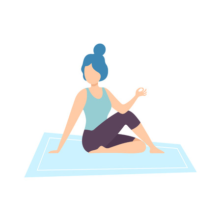 Girl in Half Lord of Fishes Pose, Young Woman Practicing Yoga, Physical Workout Training Vector Illustration on White Background.