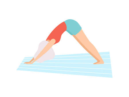 Girl in Downward Facing Dog Pose, Young Woman Practicing Yoga, Physical Workout Training Vector Illustration on White Background.