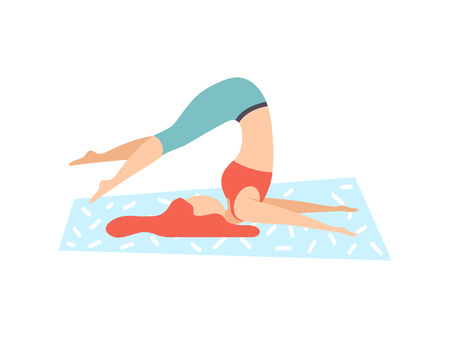 Girl in Plow Pose, Young Woman Practicing Yoga, Physical Workout Training Vector Illustration on White Background. 일러스트