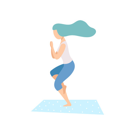 Girl in Garudasana Pose, Young Woman Practicing Yoga, Physical Workout Training Vector Illustration on White Background.