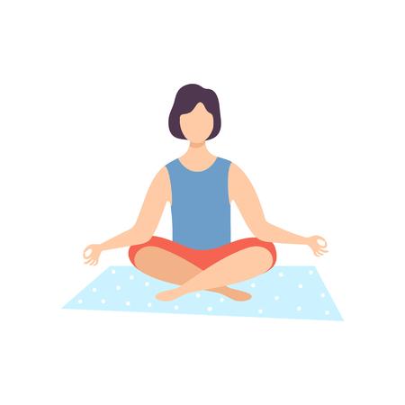 Young Man Meditating in Lotus Position, Guy Practicing Yoga, Physical Workout Training Vector Illustration on White Background. Ilustração