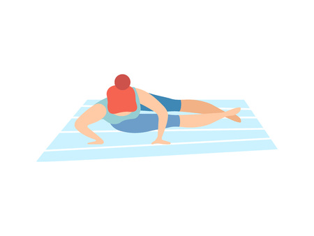 Girl in Crane Crow Pose, Young Woman Practicing Yoga, Physical Workout Training Vector Illustration on White Background.