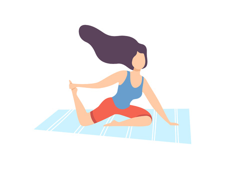 Young Woman Practicing Yoga, Physical Workout Training Vector Illustration on White Background.