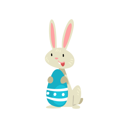 Cute White Easter Bunny with Blue Colored Egg, Adorable Rabbit Cartoon Character Vector Illustration on White Background.
