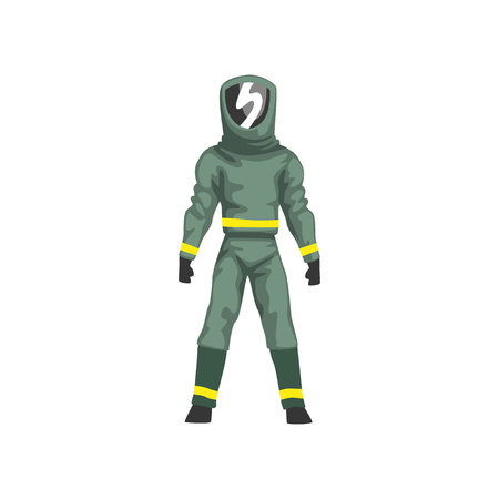 Man in Protective Suit and Helmet with Mask, Military Professional Safety Uniform Vector Illustration
