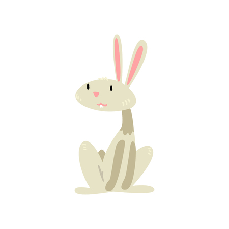 Cute White Easter Bunny Cartoon Character Vector Illustration on White Background.