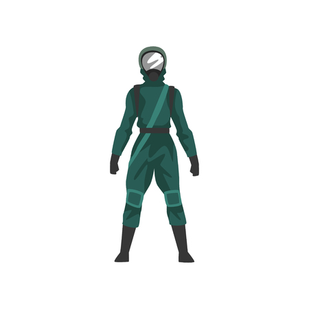 Man in Black Protective Suit and Helmet, Chemical Industry Professional Safety Uniform Vector Illustration