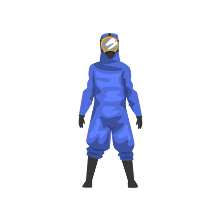 Man in Blue Protective Suit and Helmet, Professional Safety Uniform Vector Illustration on White Background.