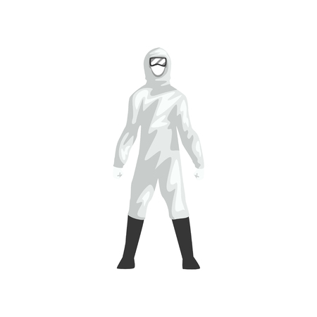 Man in White Protective Suit, Professional Safety Uniform Vector Illustration on White Background. Çizim