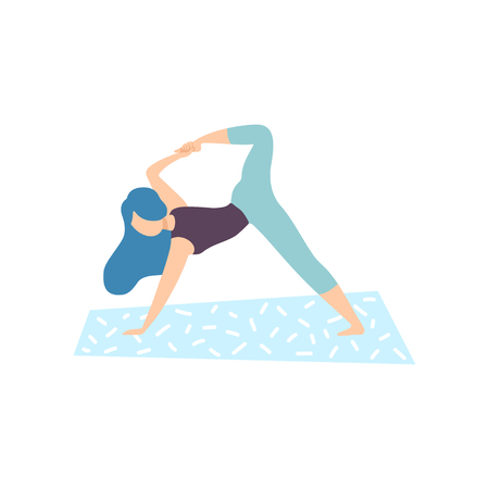 Girl Practicing Yoga Pose, Physical Workout Training Vector Illustration on White Background.