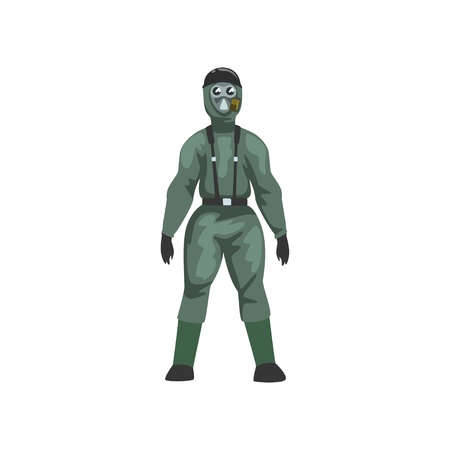 Man in Protective Suit and Gas Mask, Military Professional Safety Uniform Vector Illustration on White Background.