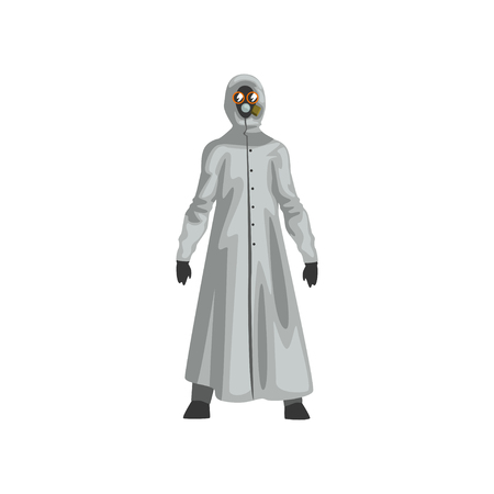 Man in Protective Suit and Gas Mask, Professional Safety Uniform Vector Illustration on White Background.