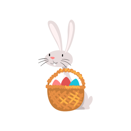 Cute White Easter Bunny with Basket of Colorful Eggs, Adorable Rabbit Cartoon Character Vector Illustration on White Background.