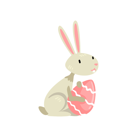 Cute White Easter Bunny with Colored Egg, Funny Rabbit Cartoon Character Vector Illustration on White Background.