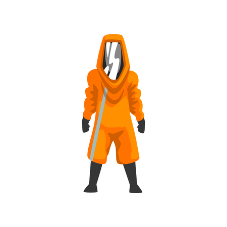 Man in Orange Protective Suit, Helmet and Mask, Chemical, Radioactive, Toxic, Hazardous Professional Safety Uniform Vector Illustration on White Background.