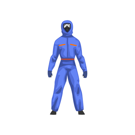 Man in Blue Protective Suit and Gas Mask, Chemical Industry Professional Safety Uniform Vector Illustration on White Background. Illustration