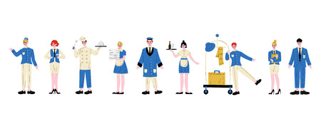 Hotel Staff Characters in Blue Uniform Set, Manager, Maid, Waitress,Chef, Bellhop, Receptionist, Concierge, Doorman Vector Illustration on White Background Zdjęcie Seryjne - 124753706