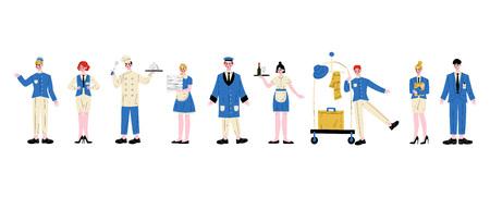 Personajes del personal del hotel en conjunto uniforme azul, gerente, mucama, camarera, chef, botones, recepcionista, conserje, portero ilustración vectorial sobre fondo blanco