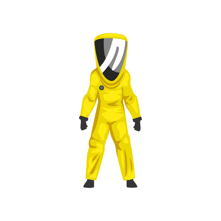 Man in Yellow Radiation Protective Suit and Helmet, Chemical or Biohazard Professional Safety Uniform Vector Illustration on White Background.