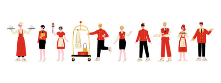 Hotel Staff Characters Set, Chef, Manager, Maid, Bellhop, Receptionist, Concierge, Waitress, Doorman in Red Uniform Vector Illustration on White Background Ilustracja