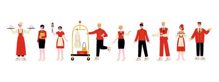 Jeu de caractères du personnel de l'hôtel, chef, directeur, femme de chambre, groom, réceptionniste, concierge, serveuse, portier en illustration vectorielle uniforme rouge sur fond blanc