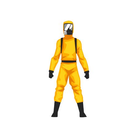 Hombre en traje de protección y máscara de gas, químico o riesgo biológico uniforme de seguridad profesional ilustración vectorial sobre fondo blanco.