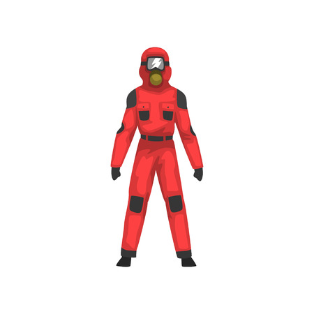 Man in Red Protective Suit and Helmet, Professional Safety Uniform Vector Illustration on White Background.