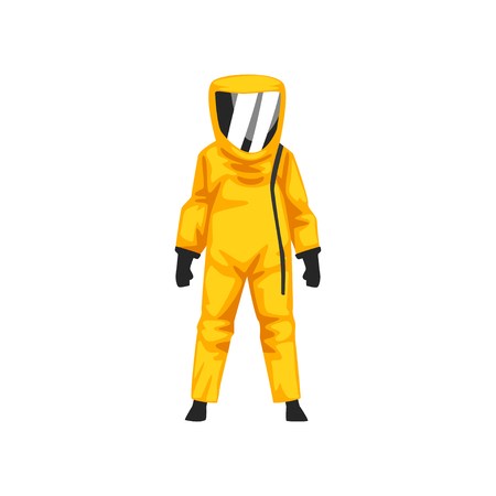 Man in Radiation Protective Suit and Helmet, Professional Safety Uniform Vector Illustration on White Background. Vettoriali