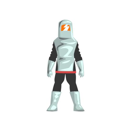 Man in Professiona Protective Suit and Helmet, Chemical, Radioactive, Toxic, Hazardous Safety Uniform Vector Illustration on White Background. Ilustrace