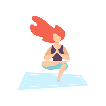 Young Woman Practicing Yoga Asana, Physical Workout Training Vector Illustration on White Background.