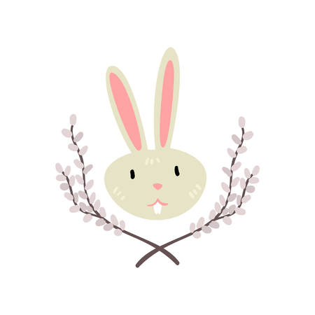 Cute White Easter Bunny Head with Willow Twigs Vector Illustration  イラスト・ベクター素材