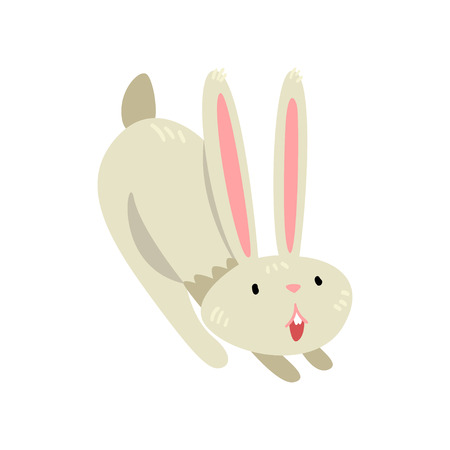 Cute Happy White Easter Bunny, Adorable Rabbit Cartoon Character Vector Illustration on White Background.
