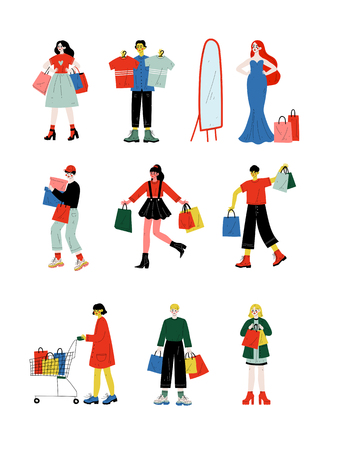 Young Women and Men Carrying Shopping Bags with Purchases Set, People Purchasing at Store, Mall or Shop Vector Illustration on White Background. Illustration