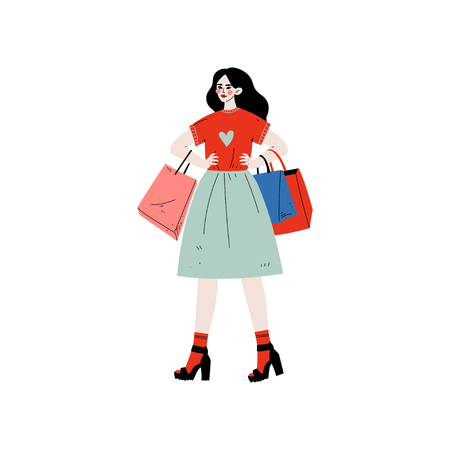 Young Beautiful Woman Walking with Shopping Bags, Brunette Girl Purchasing at Store, Mall or Shop Vector Illustration on White Background. Illustration