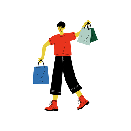 Young Man Walking with Shopping Bags with Purchases, Guy Purchasing, Seasonal Sale at Store, Mall or Shop Vector Illustration on White Background.