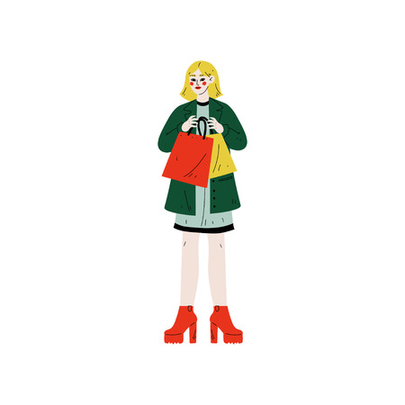 Young Woman in Trendy Clothes with Shopping Bags, Girl Purchasing, Seasonal Sale at Store, Mall or Shop Vector Illustration on White Background.