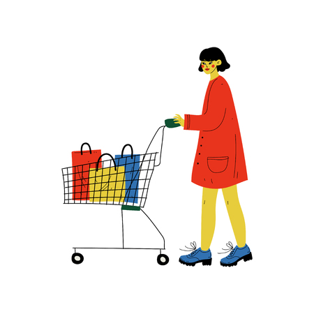Young Woman Walking with Shopping Cart, Girl Purchasing at Store, Mall or Shop Vector Illustration on White Background. Illustration