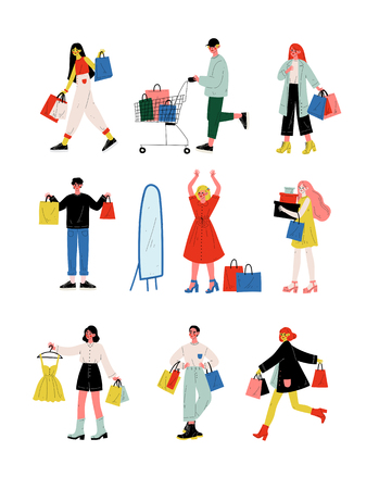 Young Women and Men in Trendy Clothes Carrying Shopping Bags with Purchases Set, People Purchasing at Store, Mall or Shop Vector Illustration on White Background. Illustration