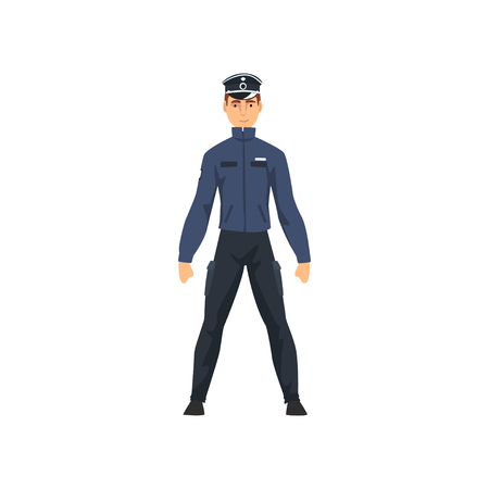 Professional Policeman Character in Dark Blue Uniform and Cap Vector Illustration on White Background.