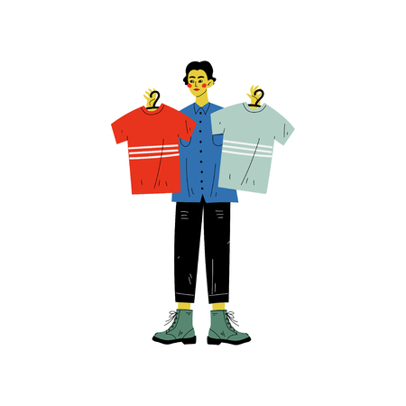 Man Choosing Shirts During Shopping at Clothing Store, Guy Purchasing at Mall or Shop Vector Illustration on White Background.