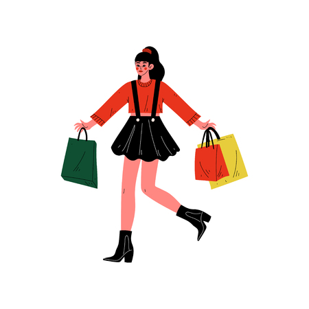 Young Woman Carrying Shopping Bags with Purchases, Beautiful Girl Purchasing at Store, Mall, Shop Vector Illustration on White Background. Illustration
