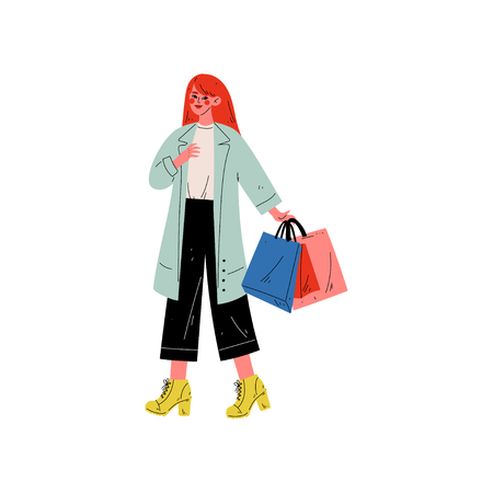 Young Fachion Woman Carrying Shopping Bags with Purchases, Girl Purchasing, Seasonal Sale at Store, Mall, Shop Vector Illustration on White Background. Illustration