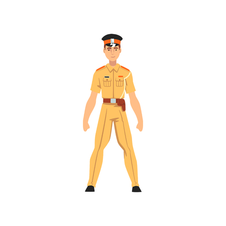 Security Police Officer, Professional Policeman Character in Knaki Uniform Vector Illustration on White Background. Illustration
