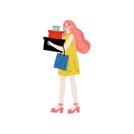 Young Beautiful Woman Carrying Boxes and Shopping Bags, Seasonal Sale at Store, Mall, Shop Vector Illustration on White Background.
