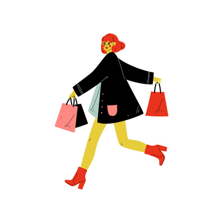 Young Woman Dressed in Trendy Clothes Running with Shopping Bags with Purchases, Seasonal Sale at Store, Mall, Shop Vector Illustration on White Background.