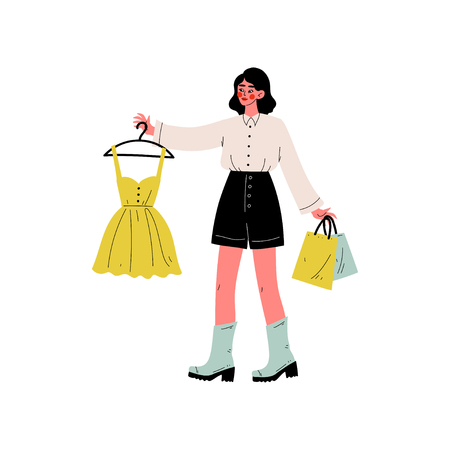 Young Beautiful Woman Carrying Yellow Dress on Hanger and Shopping Bags, Seasonal Sale at Store, Mall, Shop Vector Illustration on White Background. Stock Vector - 124737636