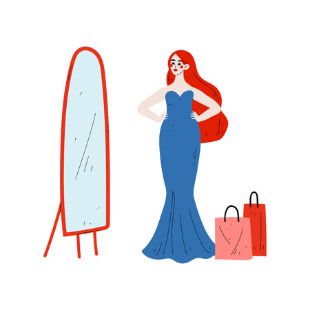 Young Woman Trying On Elegant Blue Dress in Dressing Room, Beautiful Girl Shopping at Store, Mall or Shop Vector Illustration on White Background.